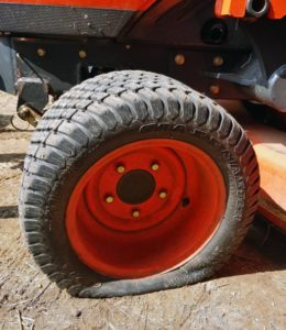 mowers deflated or unfilled tire